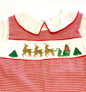 Christmas Smocked Longall | Reindeer and Santa's Sleigh