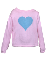 Load image into Gallery viewer, Girls Pink Sweater with Blue Heart