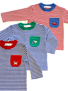 Boy's Striped Long Sleeve Shirt | Multiple Colors Available