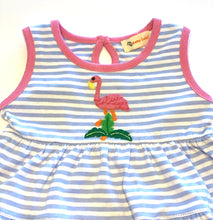 Load image into Gallery viewer, Girl's Dress | Blue and White Stripes with Flamingo Applique
