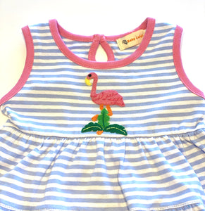 Girl's Dress | Blue and White Stripes with Flamingo Applique