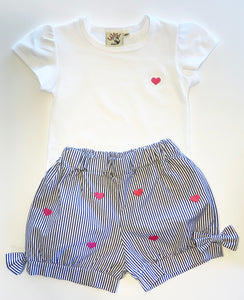 Girl's Shorts | Blue Seersucker with Heart