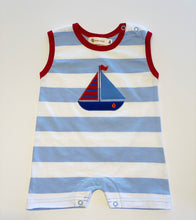 Load image into Gallery viewer, Romper | Blue Stripe with Sailboat Applique