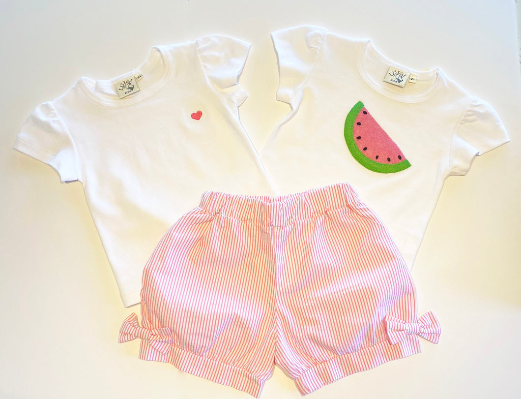 Girl's Shorts | Pink Seersucker