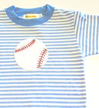 Load image into Gallery viewer, Boy's Long Sleeve T-shirt | Blue Stripe with Baseball