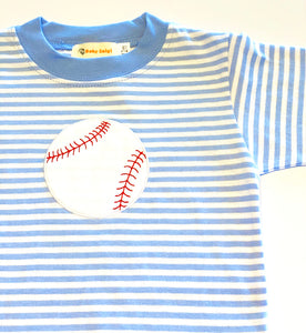 Boy's Long Sleeve T-shirt | Blue Stripe with Baseball