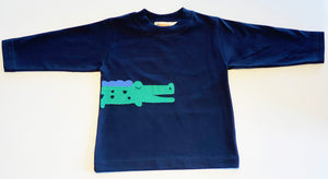 Boy's Long Sleeve T-shirt | Navy with Alligator