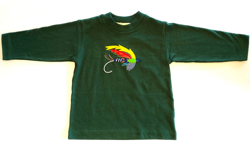 Boy's Long Sleeve Shirt | Hunter Green with Fly