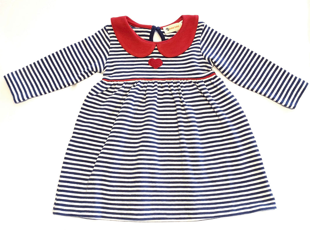 Girls Knit Dress | Stripe with Heart Applique