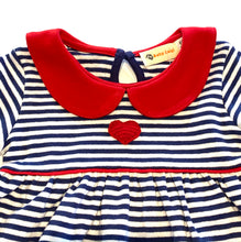 Load image into Gallery viewer, Girls Knit Dress | Stripe with Heart Applique