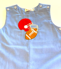 Load image into Gallery viewer, Boys Overalls | Blue with Football Applique