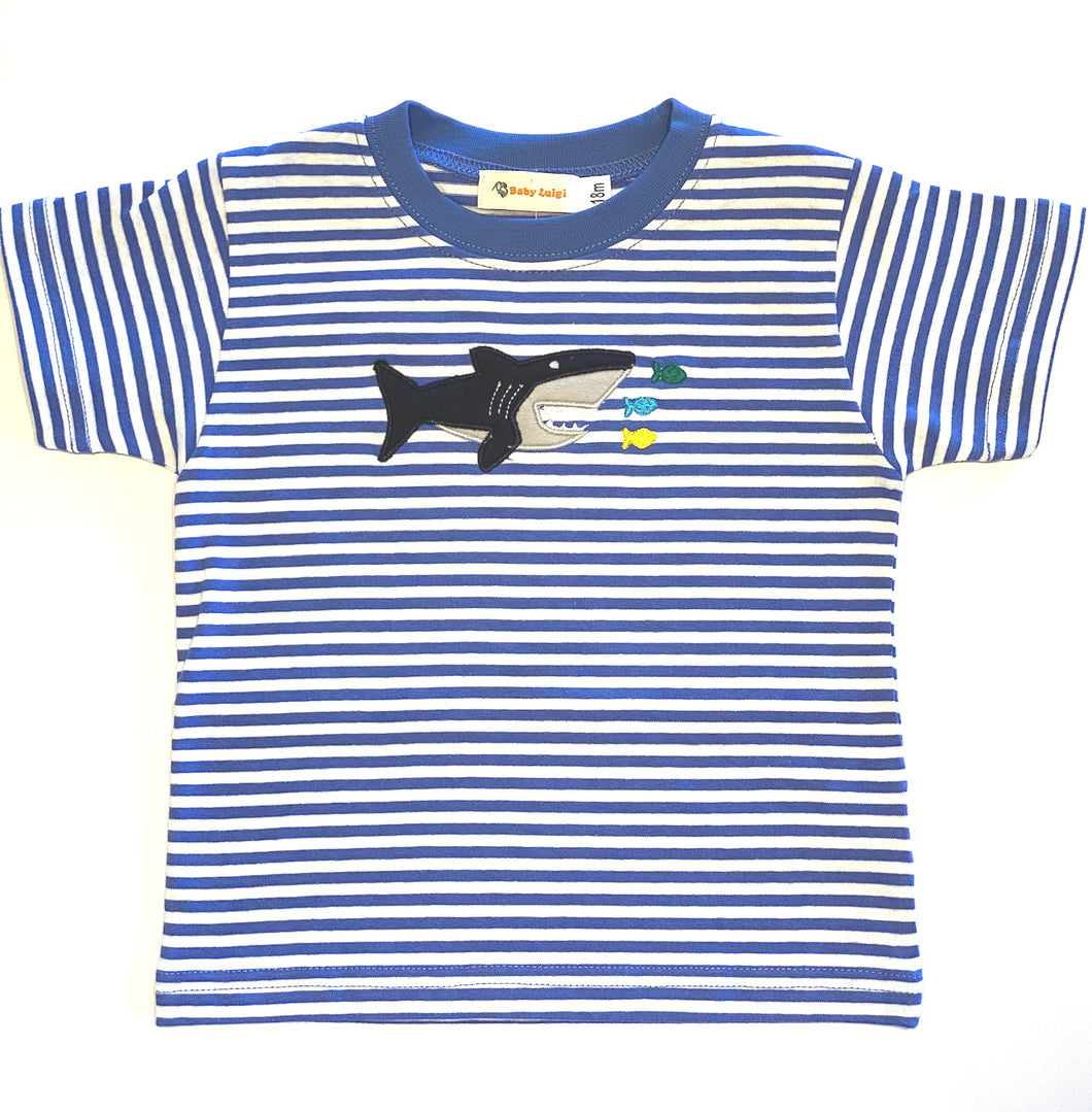 Striped T-Shirt | Shark Applique