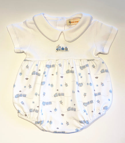 Baby Boy Bubble | White with Train Embroidery