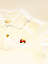 Load image into Gallery viewer, Boy's Polo Shirt | White with Firetruck Applique