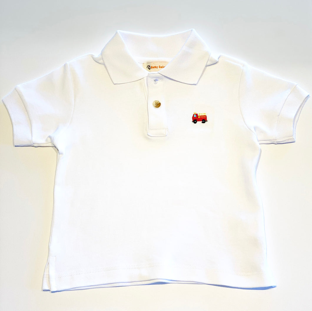 Boy's Polo Shirt | White with Firetruck Applique