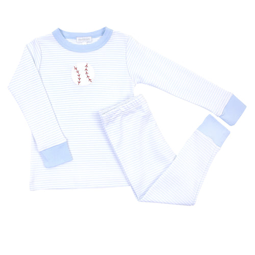 Long Sleeve Pajamas with Baseball Applique