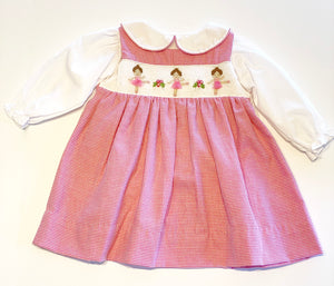 Smocked Ballerina Dress | Pink Houndstooth