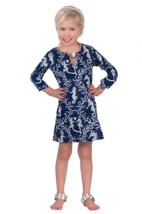 Navy and White Girls Seahorse Tunic