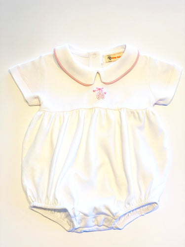 Baby Girl Bubble | White with Ballet Slipper Embroidery