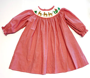 Christmas Smocked Dress | Reindeer and Santa's Sleigh