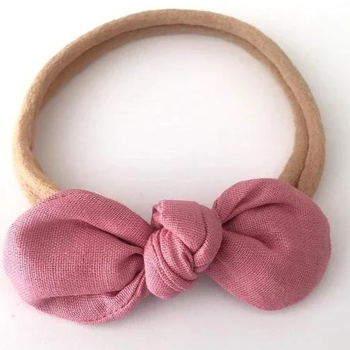 Blush Cotton Bow Headband