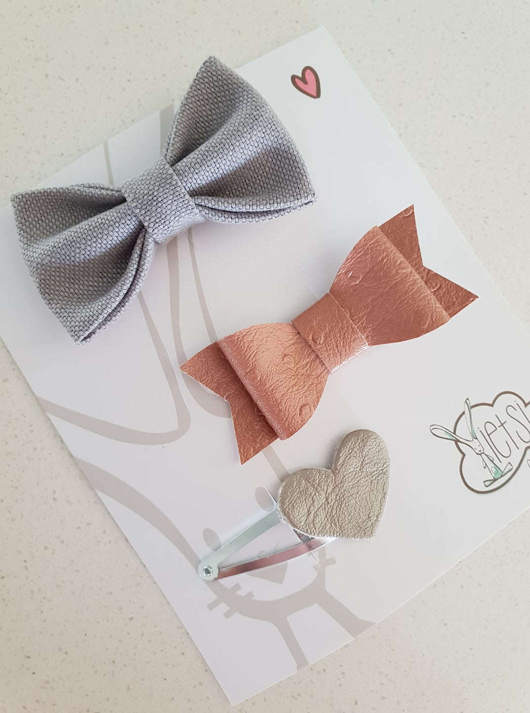 Ietsi 3 Set Grey rose gold and silver Hair Clips