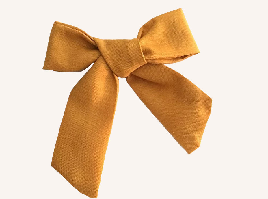 Mustard Sweetheart Bow Alligator Clips