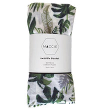 Load image into Gallery viewer, Maccie Tropical Leaf Bamboo Cotton Muslin Swaddle