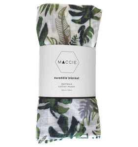 Maccie Tropical Leaf Bamboo Cotton Muslin Swaddle