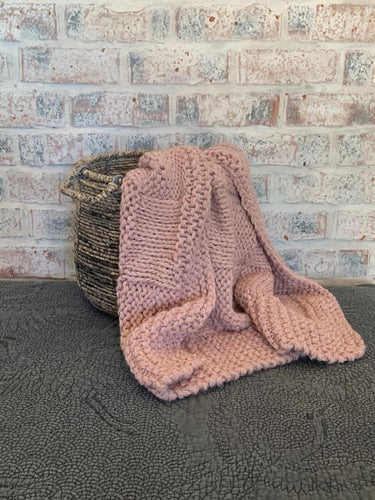 Dusty Pink Chunky-Knit Handmade Blanket