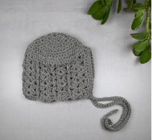 Load image into Gallery viewer, Grey Crochet Bonnet