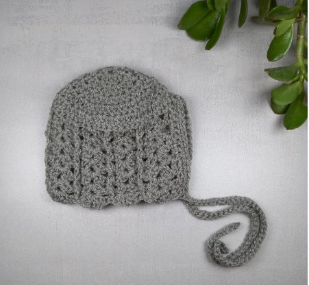 Grey Crochet Bonnet