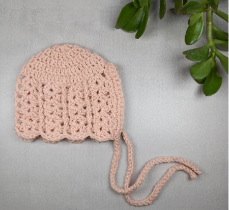 Dusty Pink Crochet Bonnet