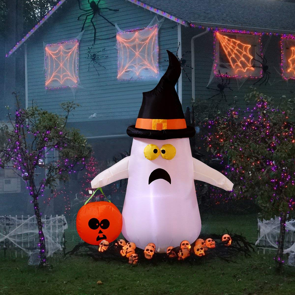 4 Foot Halloween Inflatable Ghost Lighted Blow Up Ghost