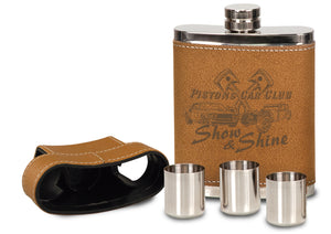 7 oz. Leather Flask with Lid & 3 Shot Glasses
