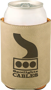 "3 3/4"" Light Brown Laserable Leatherette Beverage Holder"