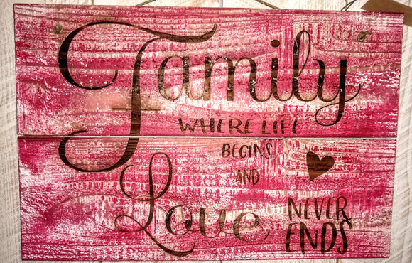 Rustic Sign- Family Where Life Begins and Love Never Ends