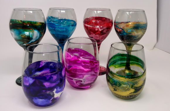 Alcohol Ink Wine Glass