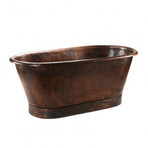 "Premier Copper Products 72"" Hammered Copper Modern Slipper Style Bathtub - BTM72DB"