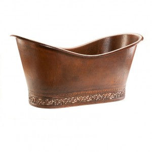 "Premier Copper Products 67"" Hammered Copper Double Slipper Bathtub with Scroll Base and Nickel Inlay - BTN67DB"