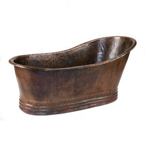 "Premier Copper Products 67"" Hammered Copper Single Slipper Bathtub - BTS67DB"