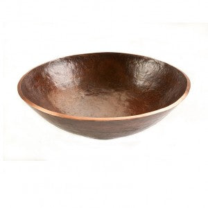 "Premier Copper Products 16"" Round Hand Forged Old World Copper Vessel Sink - PV16RDB"