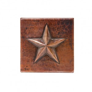 "Premier Copper Products 4"" x 4"" Copper Star Tile - T4DBS"