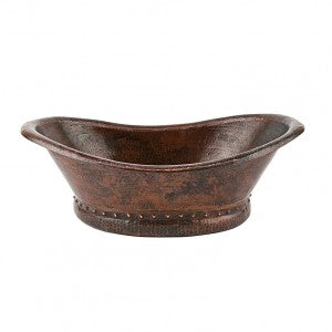 Premier Copper Products Bath Tub Vessel Hammered Copper Sink - VBT20DB