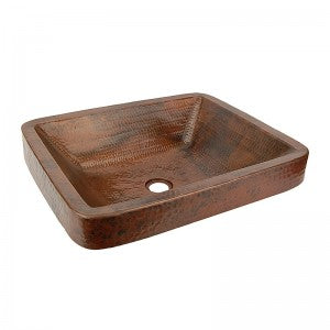 Premier Copper Products Rectangle Skirted Vessel Hammered Copper Sink - VREC19SKDB
