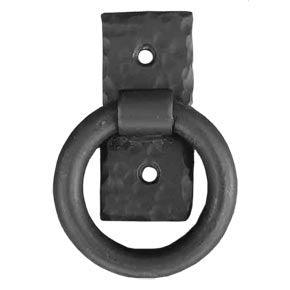 "Agave Ironworks Garage Door Decorative Wrought Iron Hardware Kit - 18"" Sonora Distressed Strap - Small Smooth Ring Pull - Flat Black"