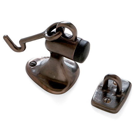 Sun Valley Bronze SVB- DS-2HE  Floor Mount Door Stop with Hook and Eye  3 3/4""