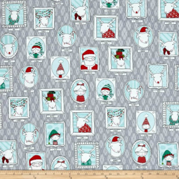 Mingle & Jingle by Alicia Jacobs Dujets for Ink & Arrow Fabrics - Santa's Crew Picture Patches in Gray (25917-K)