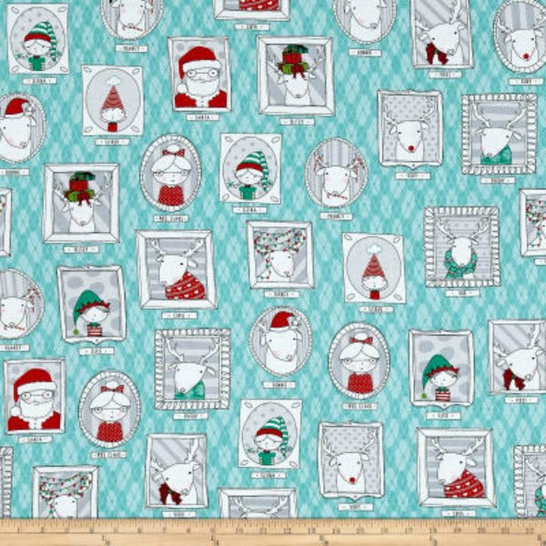 Mingle & Jingle by Alicia Jacobs Dujets for Ink & Arrow Fabrics - Santa's Crew Picture Patches in Wintergreen (25917-Q)