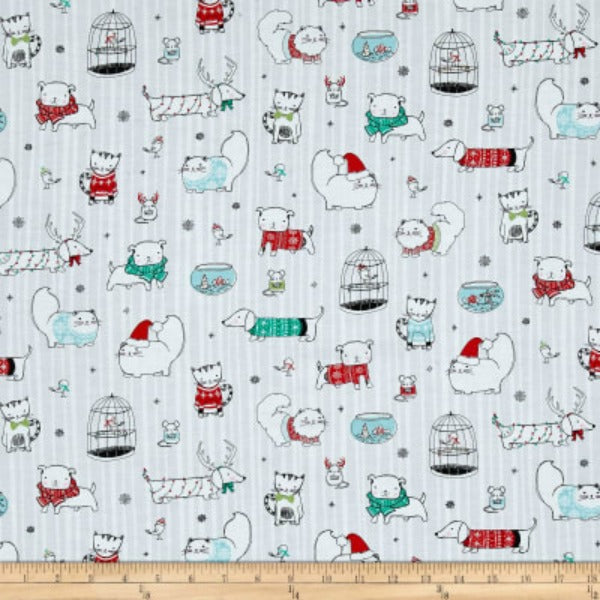 Mingle & Jingle by Alicia Jacobs Dujets for Ink & Arrow Fabrics - Christmas Pets in Pale Gray (25918-K)
